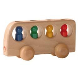 Holzfahrzeug - Bus natur mit farbigen Insassen