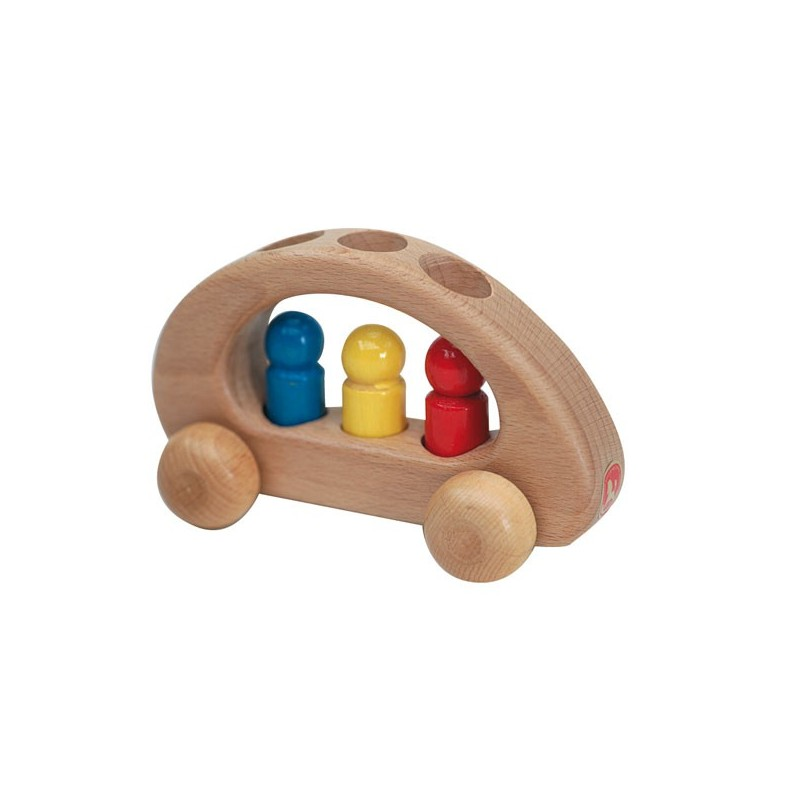 Holzfahrzeug - Familienauto mit 3 Männlein