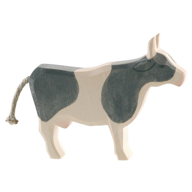 Holztier: Kuh schwarz stehend