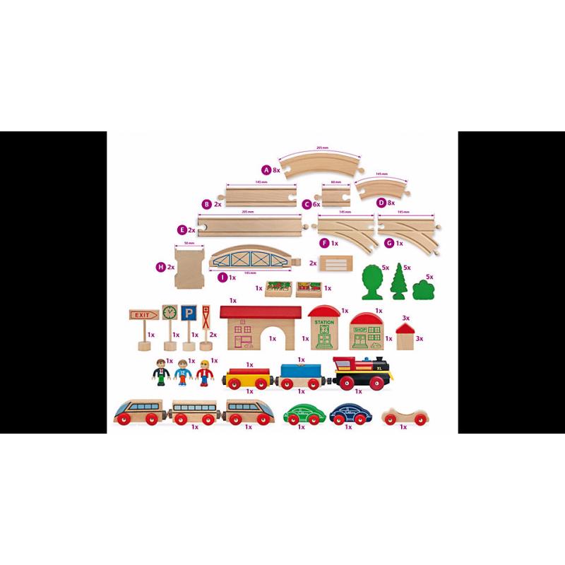 Holz eisenbahn set groß waelderspielzeug