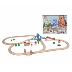 Holz-Eisenbahn Set mit Brücke