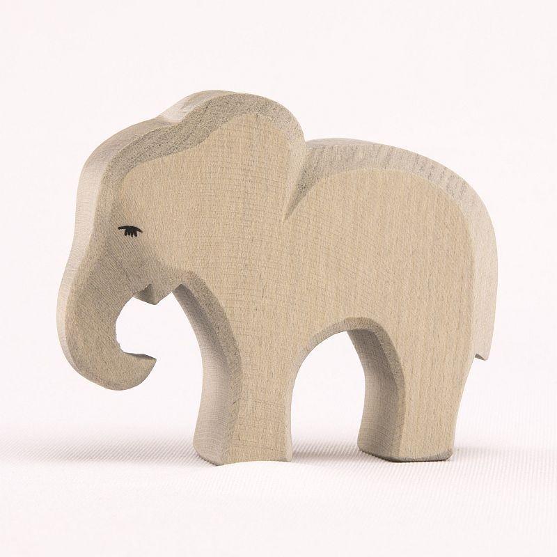 Holztier: Elefant klein fressend