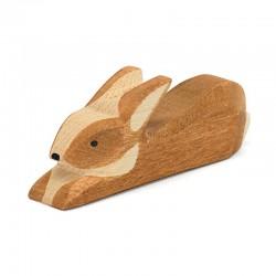 Holztier: Hase braun gefleckt liegend