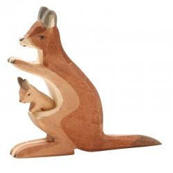 Holztier: Känguru mit Kind 2-tlg.