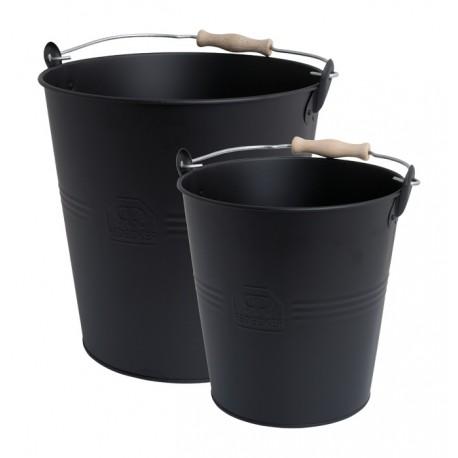 Eimer-Set in schwarz aus Metall