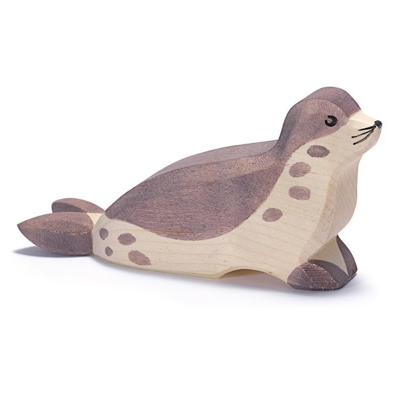 Holztier: Seehund Kopf tief