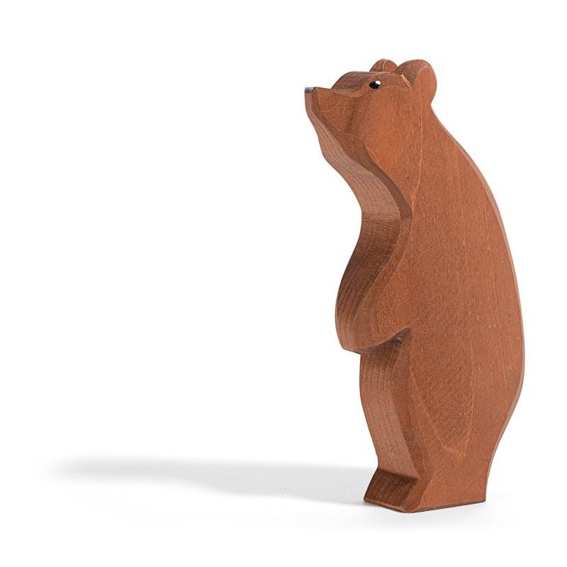 Holztier: Bär stehend Kopf hoch