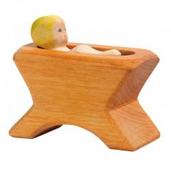 Holzfigur: Krippe mit Kind 2-tlg.