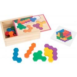 Lernspiel Holzpuzzle Hexagon
