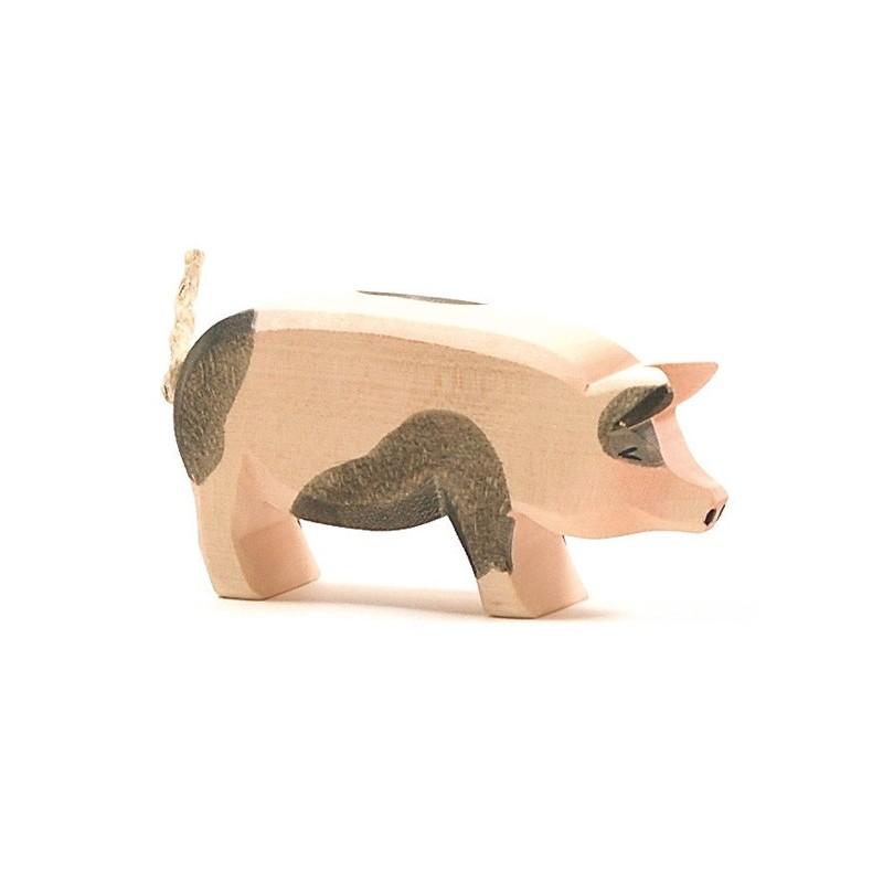 holztier schwein gefleckt handgemachte holztiere von. Black Bedroom Furniture Sets. Home Design Ideas