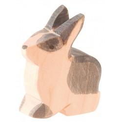 Holztier: Kaninchen sitzend schwarz-weiß